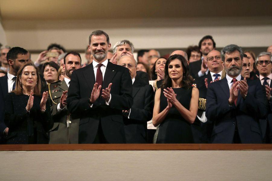 """La reine Letizia et le roi Felipe VI d'Espagne au concert """"In Memoriam"""" à Madrid, le 7 mars 2019"""