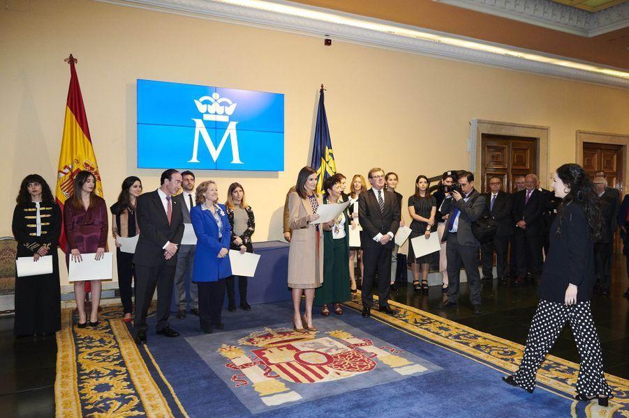 La reine Letizia d'Espagne à Madrid, le 8 avril 2019
