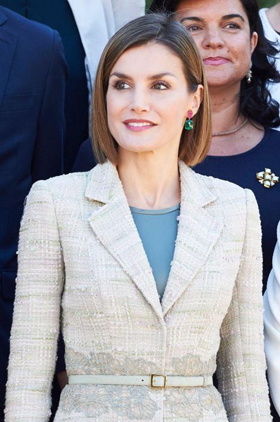La reine Letizia d'Espagne au palais de la Zarzuela à Madrid, le 29 septembre 2015