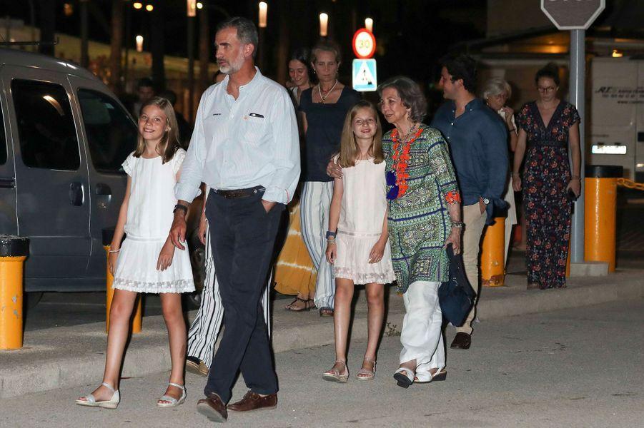 La famille royale d'Espagne à Palma de Majorque, le 4 août 2018