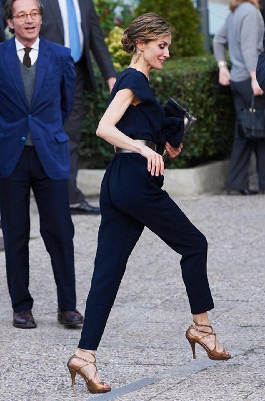 La reine Letizia d'Espagne à Madrid, le 11 mars 2015