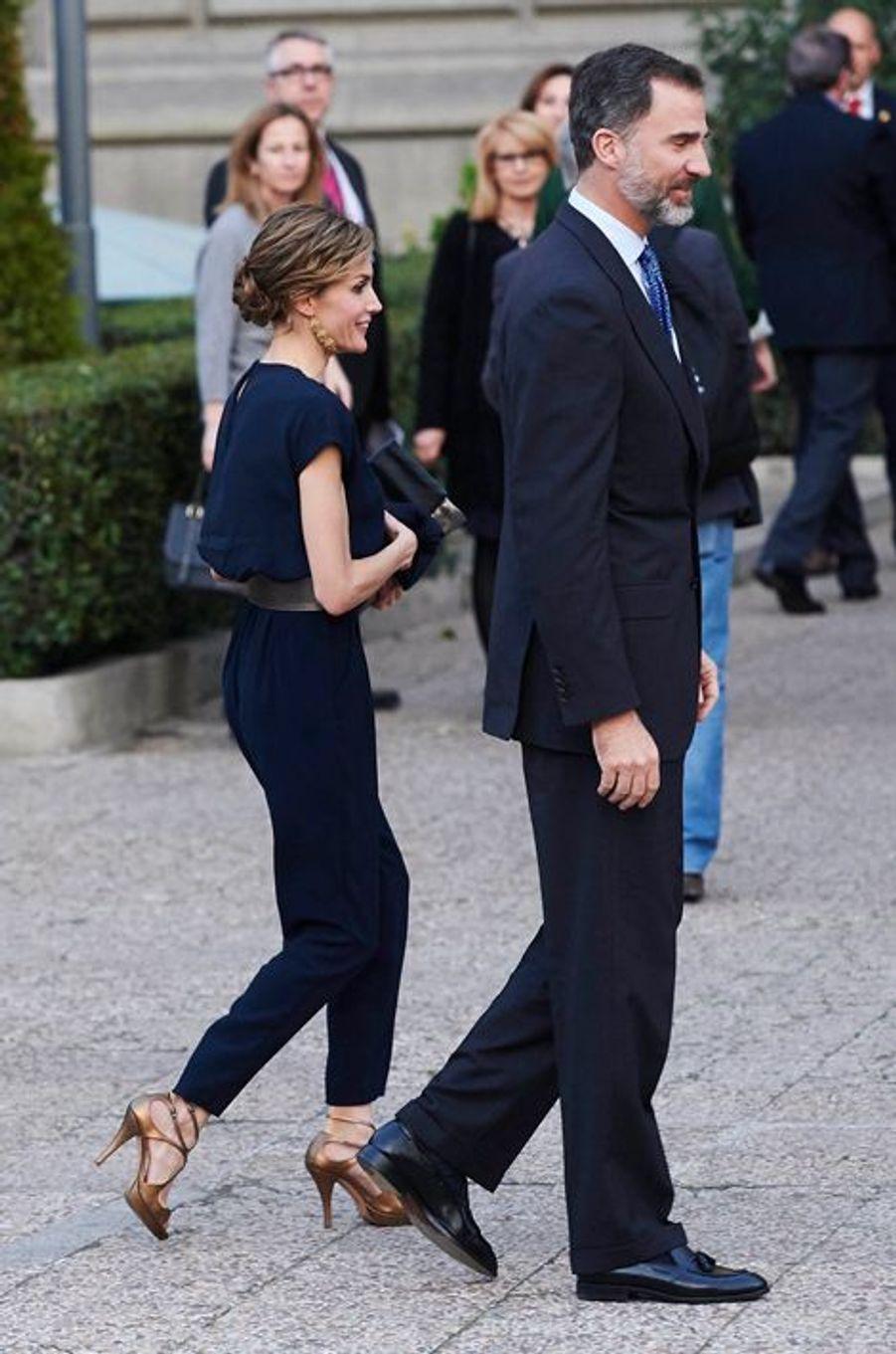 La reine Letizia et le roi Felipe VI d'Espagne à Madrid, le 11 mars 2015
