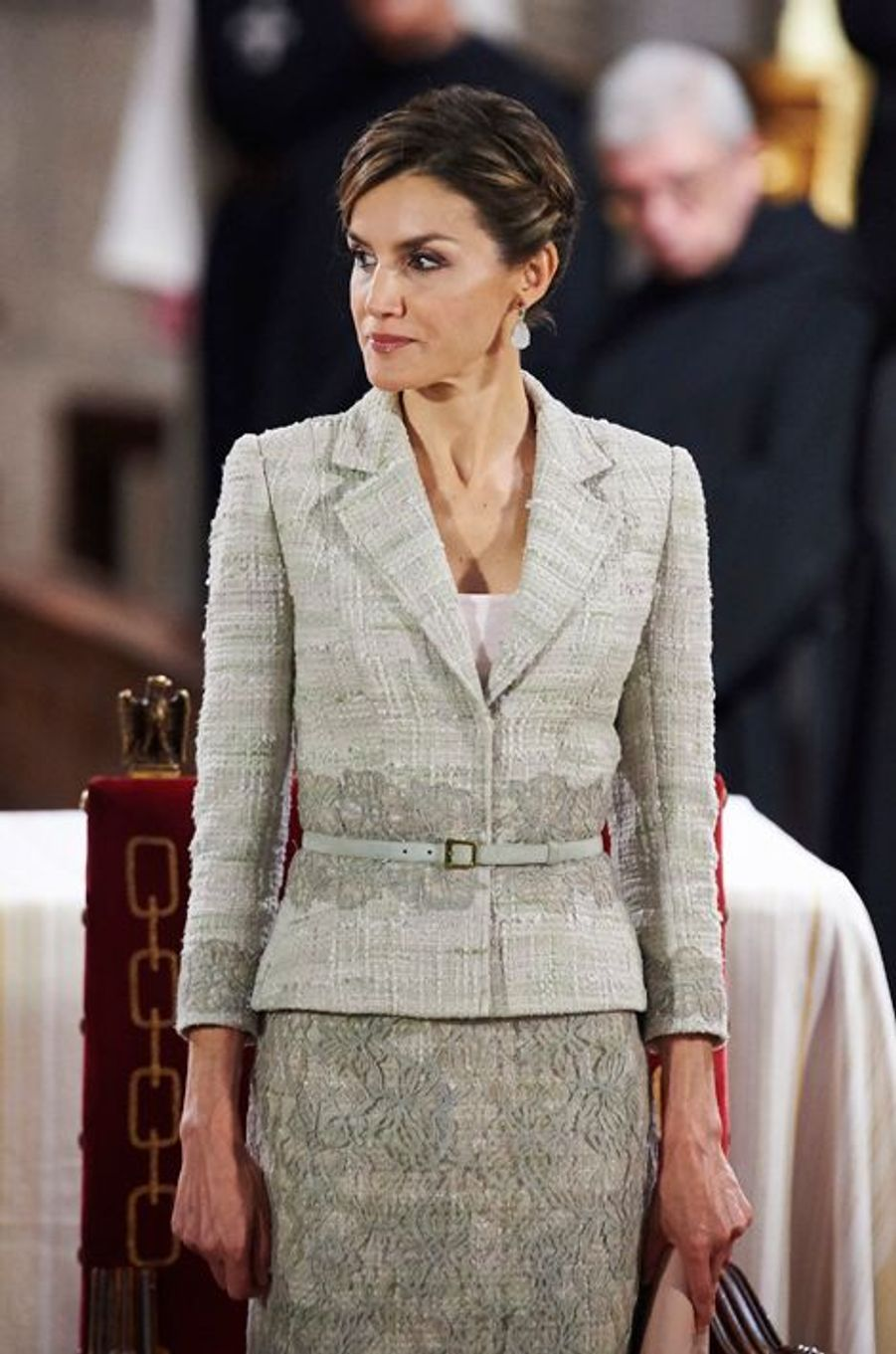 La reine Letizia d'Espagne au monastère San Salvador de Leyre, le 10 juin 2015