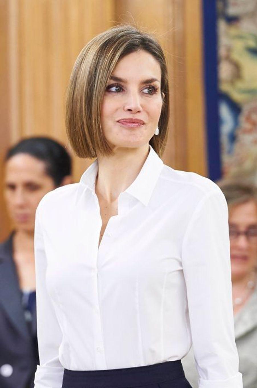 La reine Letizia d'Espagne à Madrid, le 2 septembre 2015