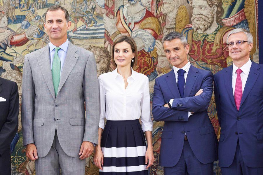 La reine Letizia et le roi Felipe VI d'Espagne à Madrid, le 2 septembre 2015