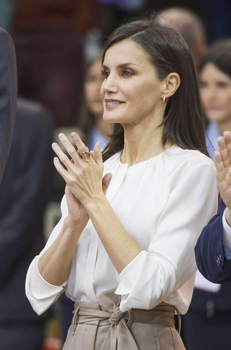 La reine Letizia d'Espagne à Salamanque, le 8 mars 2020