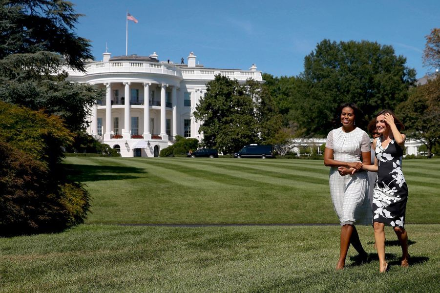 La reine Letizia d'Espagne avec Michelle Obama à la Maison Blanche à Washington, le 15 septembre 2015