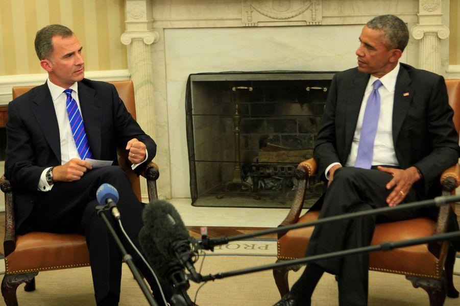 Le roi Felipe VI d'Espagne avec Barack Obama à la Maison Blanche à Washington, le 15 septembre 2015