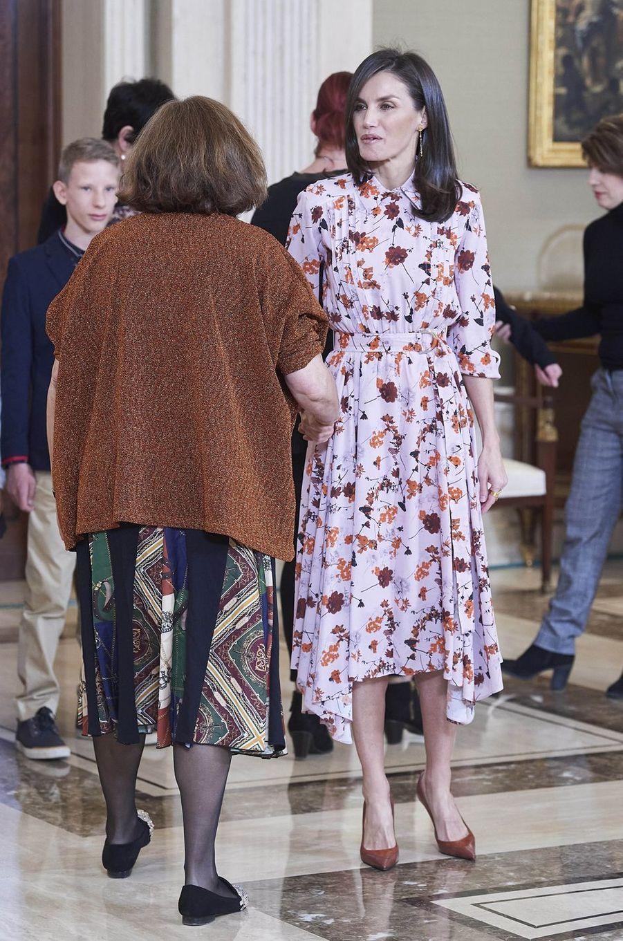 La reine Letizia d'Espagne à Madrid, le 21 février 2020