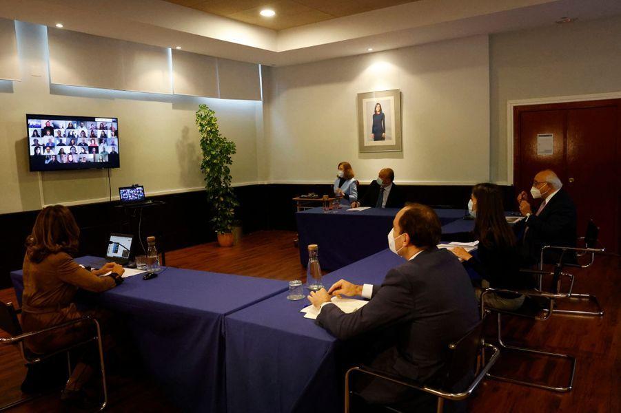 La reine Letizia d'Espagne à Madrid, le 5 novembre 2020