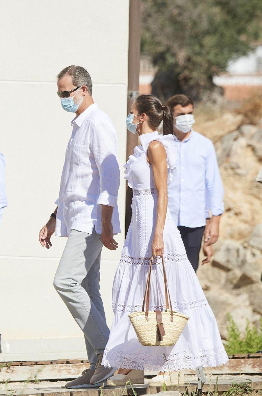 Le roi Felipe VI d'Espagne et la reine Letizia sur l'île d'Ibiza, le 17 août 2020