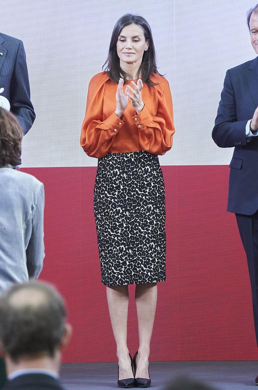 La reine Letizia d'Espagne à Madrid, le 3 mars 2020