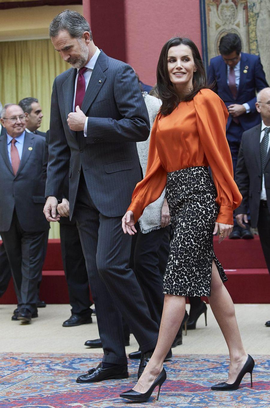 La reine Letizia et le roi Felipe VI d'Espagne à Madrid, le 3 mars 2020