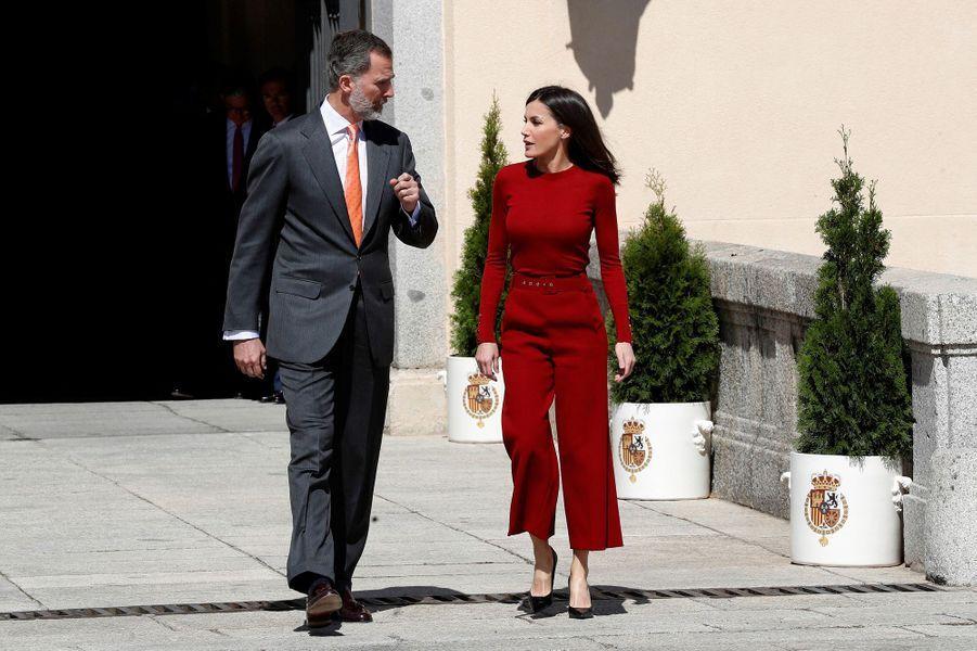 La reine Letizia et le roi Felipe VI d'Espagne à Madrid, le 21 mars 2019
