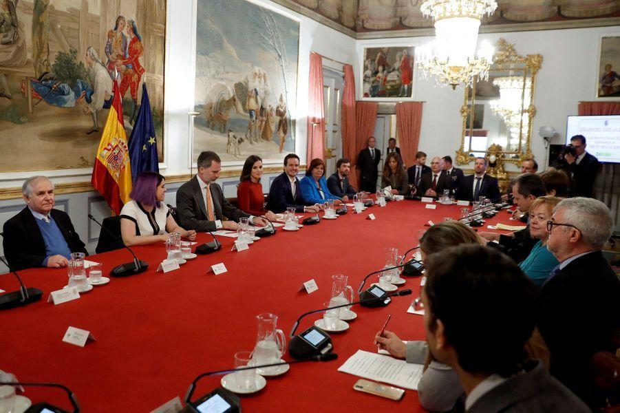 La reine Letizia et le roi Felipe VI d'Espagne en réunion au palais du Pardo à Madrid, le 21 mars 2019