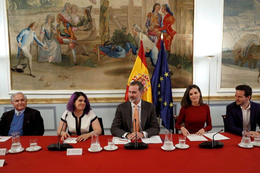 La reine Letizia et le roi Felipe VI d'Espagne en réunion au palais du Pardo, le 21 mars 2019 à Madrid
