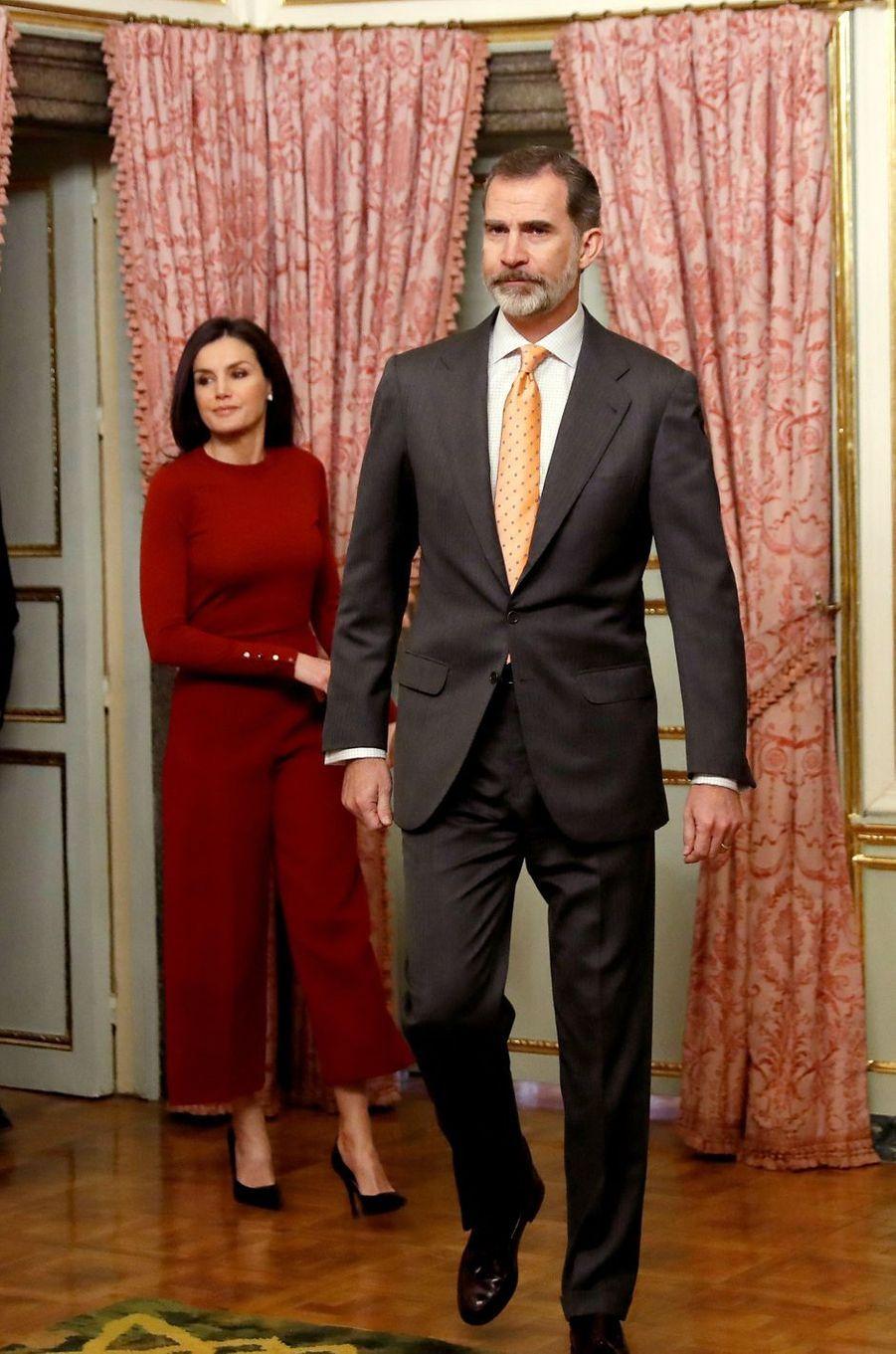 La reine Letizia et le roi Felipe VI d'Espagne au palais du Pardo, le 21 mars 2019 à Madrid