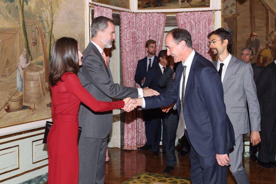 La reine Letizia et le roi Felipe VI d'Espagne au palais du Pardo à Madrid, le 21 mars 2019