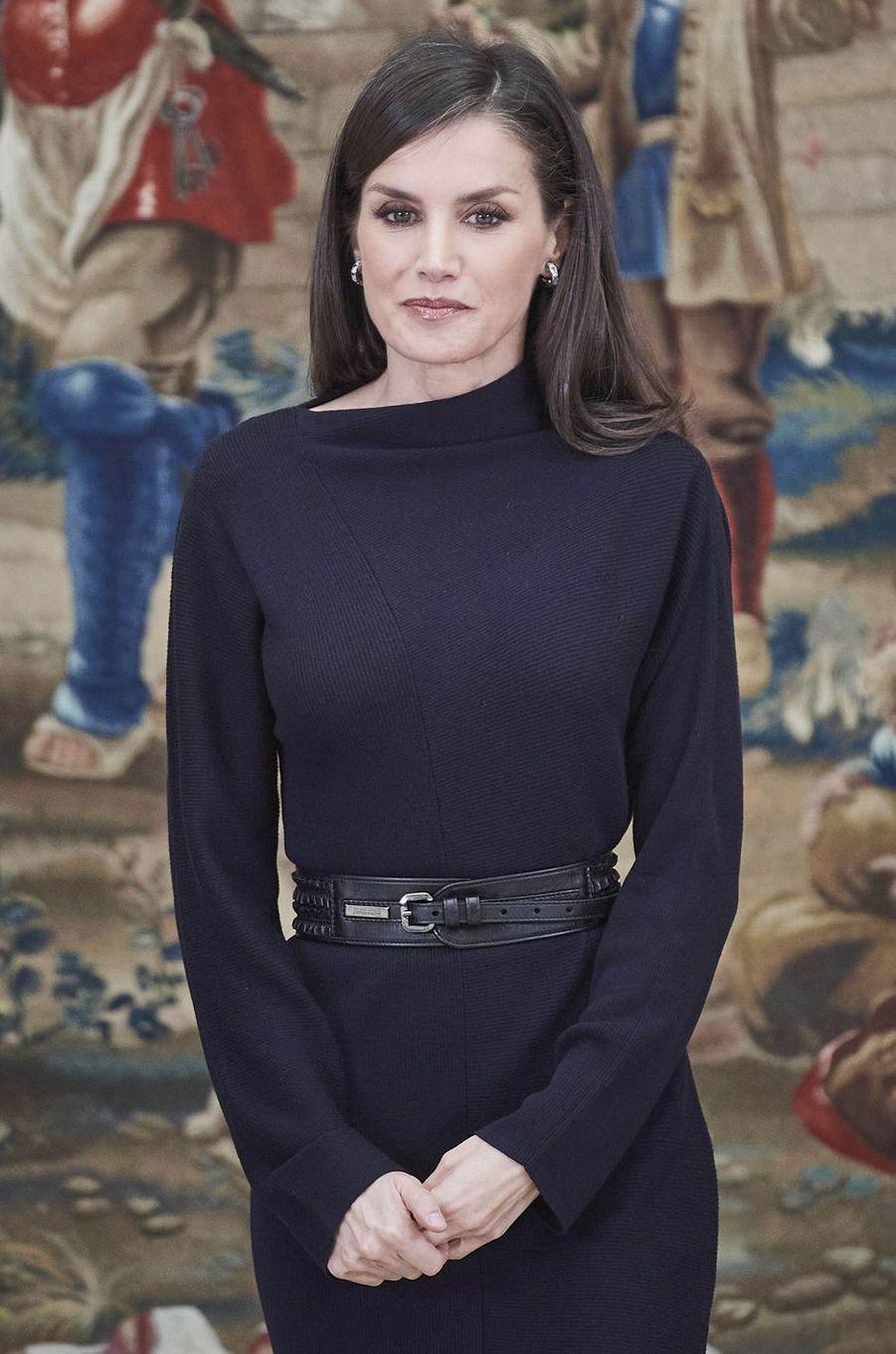 La reine Letizia d'Espagne à Madrid, le 17 février 2020