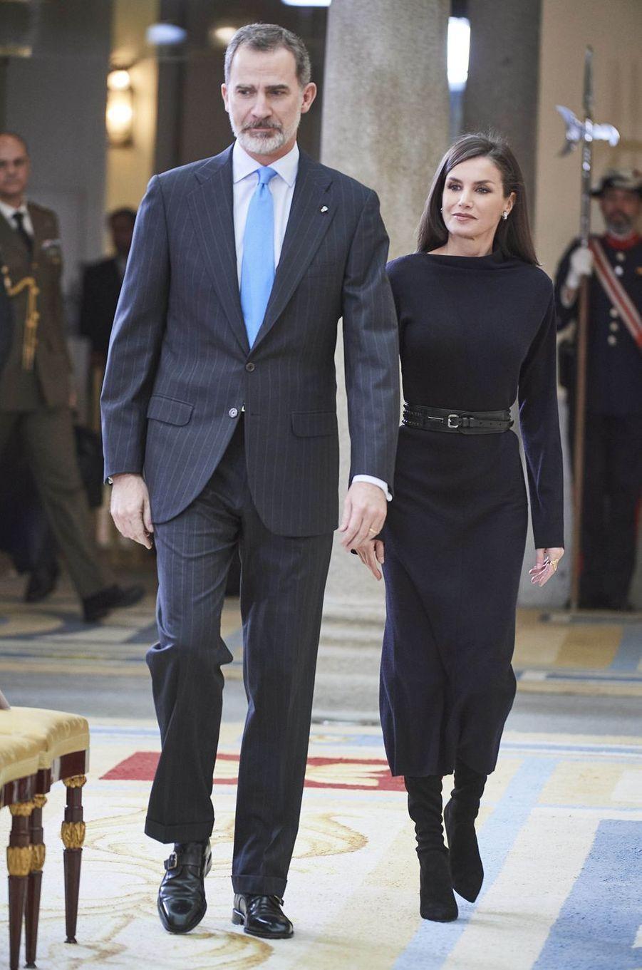Le roi Felipe VI et la reine Letizia d'Espagne à Madrid, le 17 février 2020