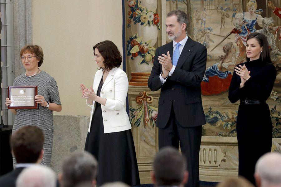 La reine Letizia et le roi Felipe VI d'Espagne à Madrid, le 17 février 2020
