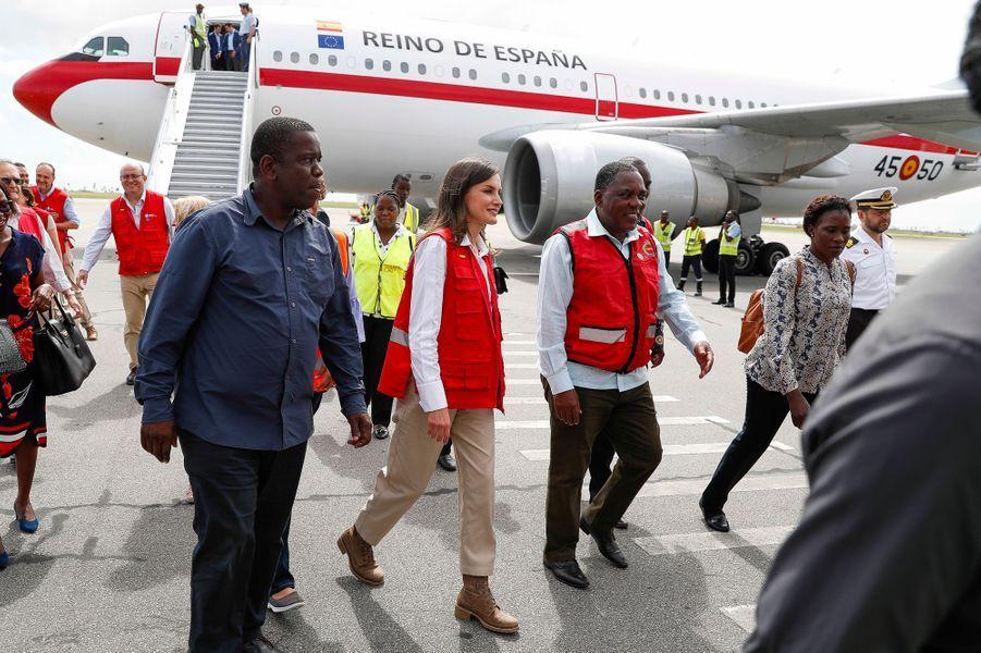 La reine Letizia d'Espagne à Beira au Mozambique, le 30 avril 2019