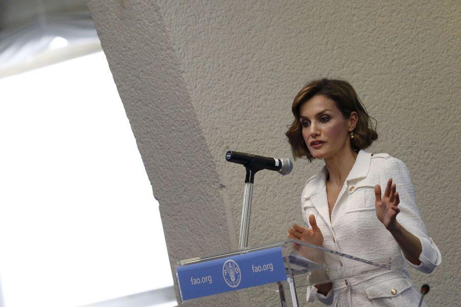 La reine Letizia d'Espagne au siège de la FAO à Rome, le 11 juin 2015