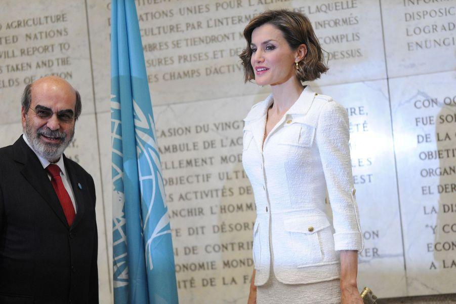 La reine Letizia d'Espagne avec le directeur-général de la FAO Jose Graziano da Silva, à Rome, le 11 juin 2015