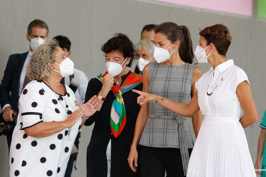 La reine Letizia d'Espagne à Milagro, le 14 septembre 2020