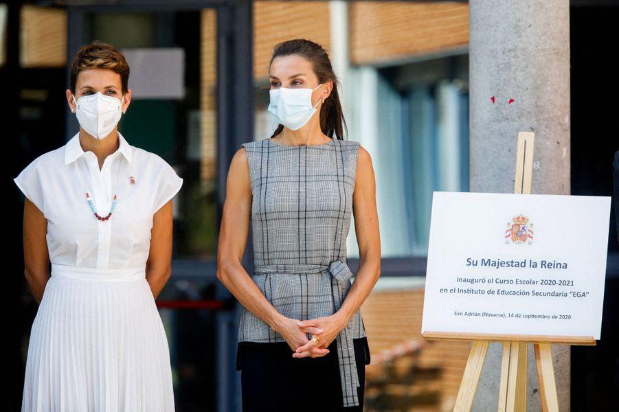 La reine Letizia d'Espagne à San Adrian, le 14 septembre 2020