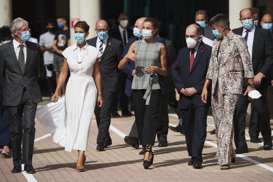 La reine Letizia d'Espagne à Milagro et San Adrian, le 14 septembre 2020