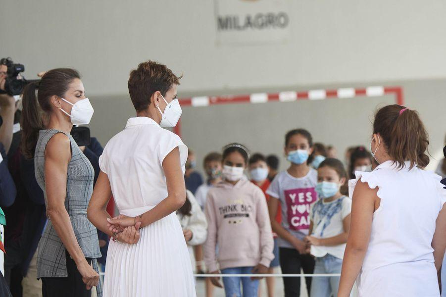La reine Letizia d'Espagne dans une école à Milagro, le 14 septembre 2020