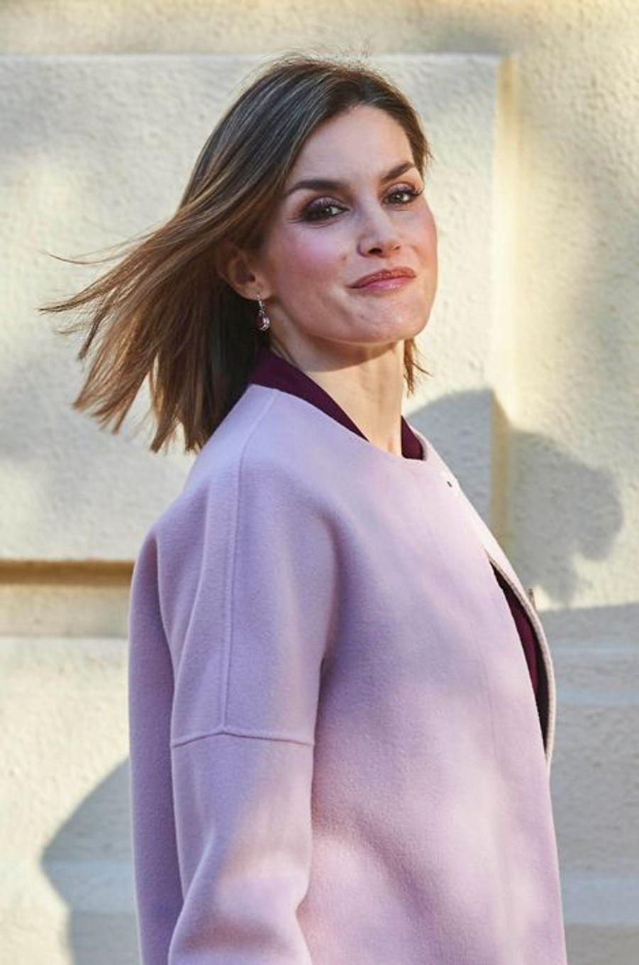 La reine Letizia d'Espagne à Madrid, le 12 janvier 2016