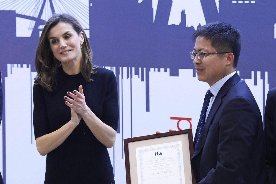 La reine Letizia d'Espagne à Madrid, le 9 avril 2018