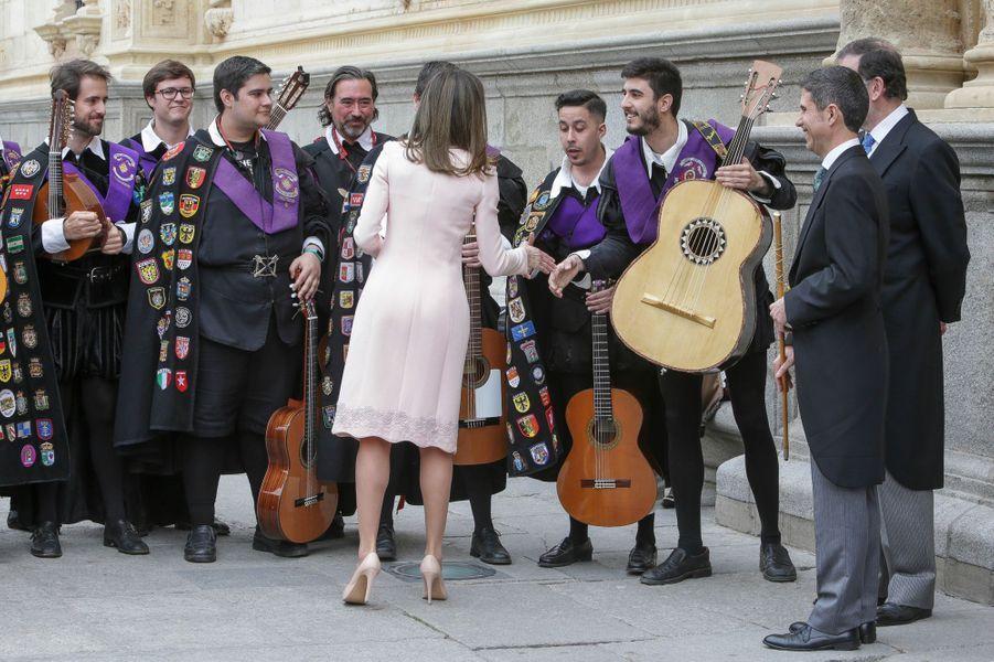 La reine Letizia d'Espagne à Alcala de Henares, le 23 avril 2018