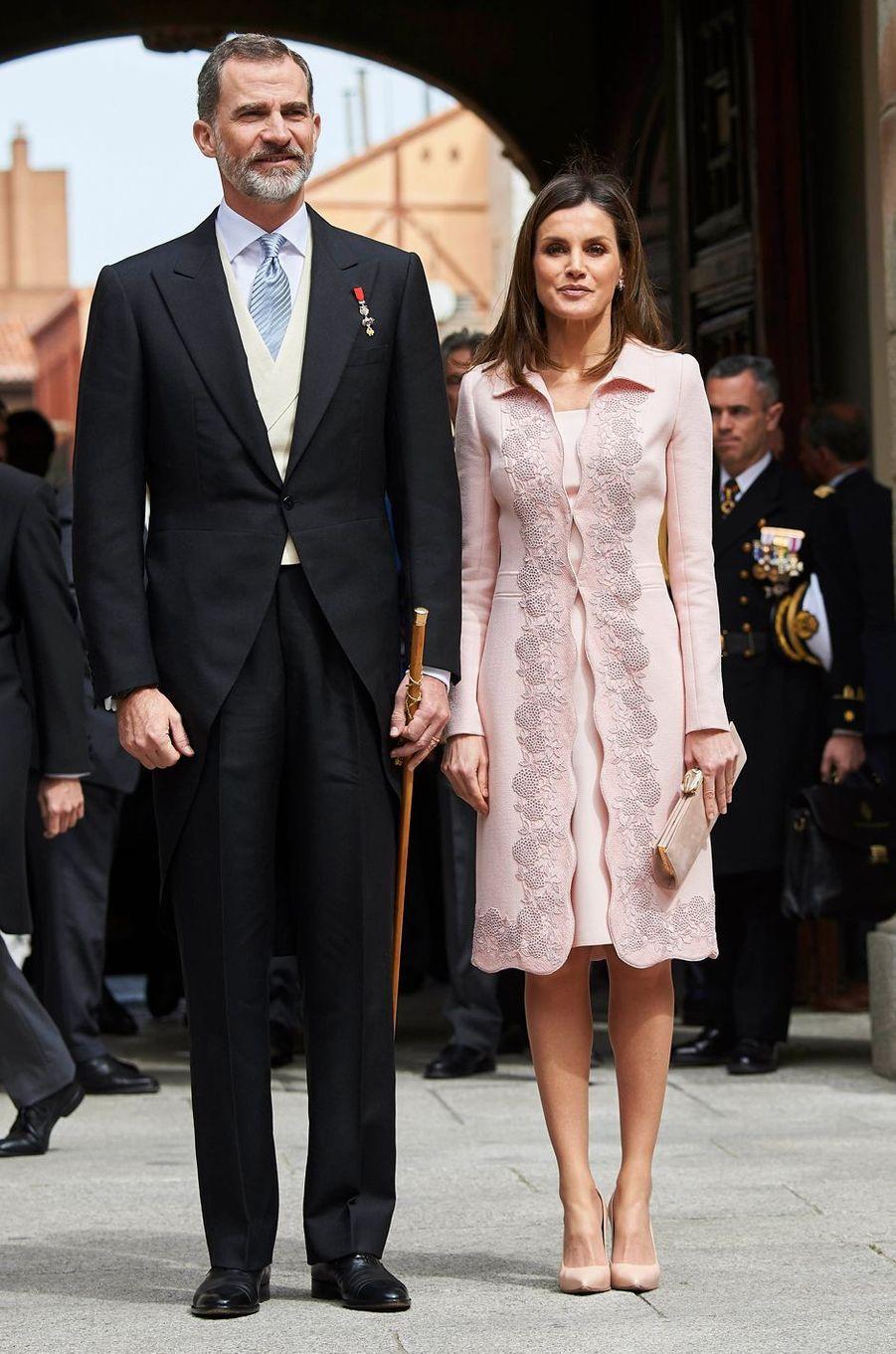 Le roi Felipe VI et la reine Letizia d'Espagne à Alcala de Henares, le 23 avril 2018
