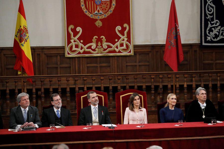 La reine Letizia et le roi Felipe VI d'Espagne à Alcala de Henares, le 23 avril 2018