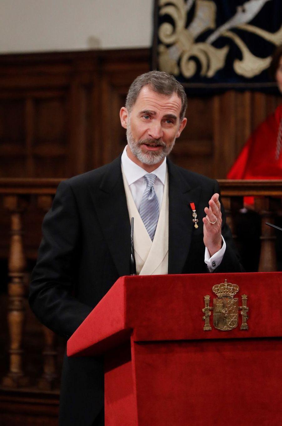 Le roi Felipe VI d'Espagne à Alcala de Henares, le 23 avril 2018