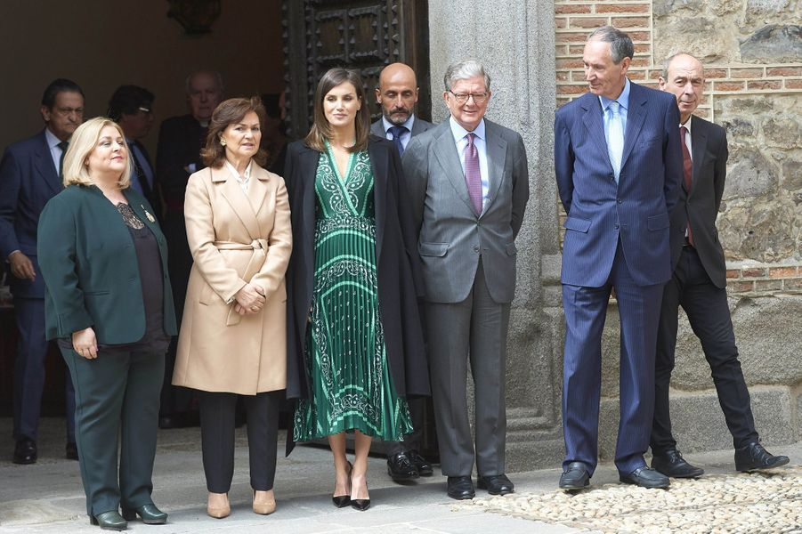La reine Letizia d'Espagne dans une robe Sandro à Madrid, le 10 avril 2019
