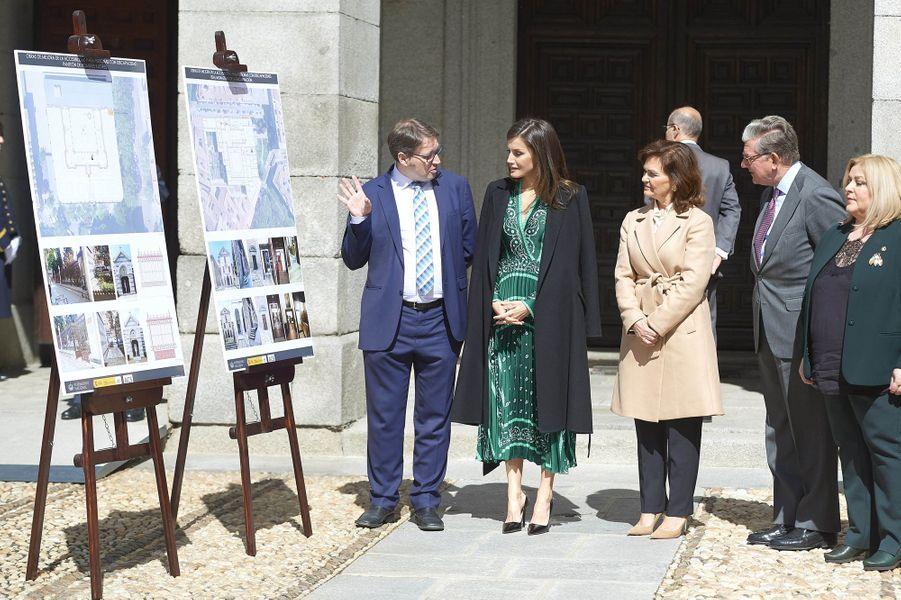 La reine Letizia d'Espagne au couvent royal de la Encarnación à Madrid, le 10 avril 2019