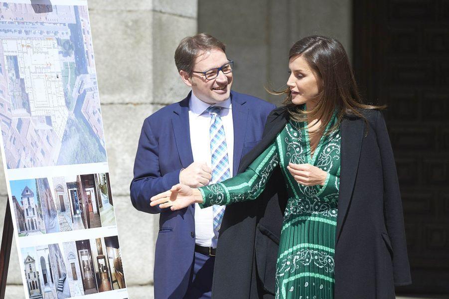La reine Letizia d'Espagne au couvent royal de la Encarnación, le 10 avril 2019 à Madrid
