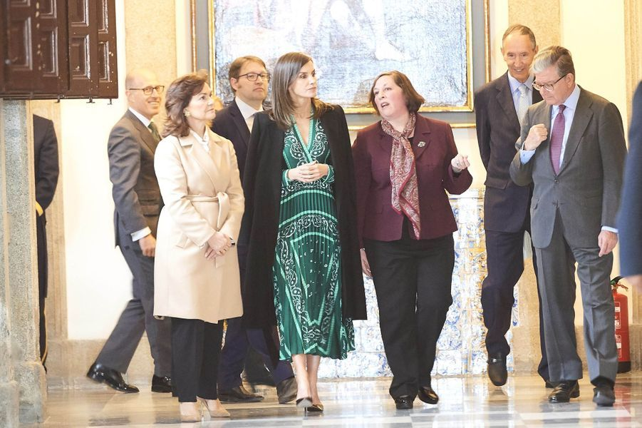 La reine Letizia d'Espagne à Madrid, le 10 avril 2019