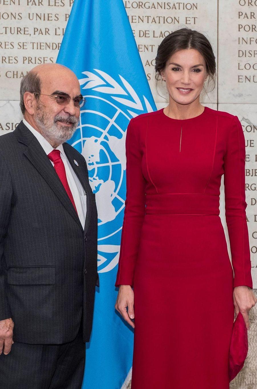 La reine Letizia d'Espagne à la FAO à Rome, le 16 octobre 2018