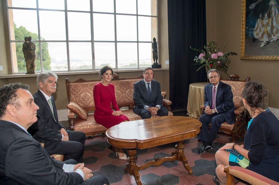 La reine Letizia d'Espagne à Rome, le 16 octobre 2018