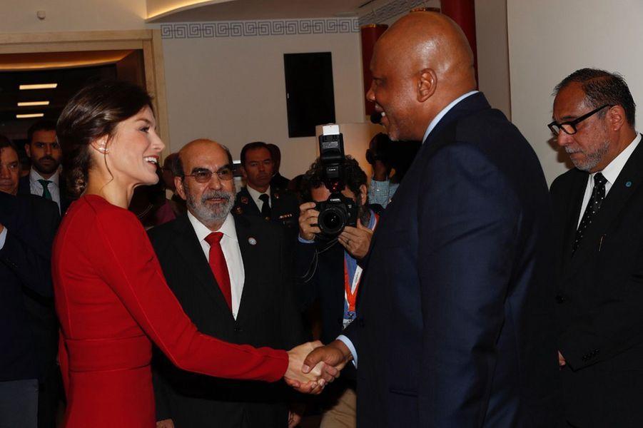 La reine Letizia d'Espagne avec le roi du Lesotho à Rome, le 16 octobre 2018