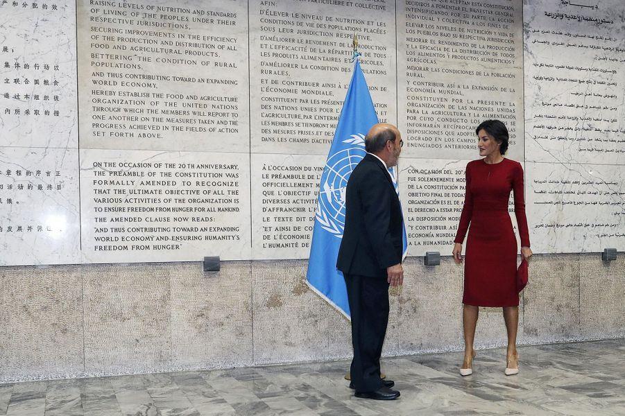 La reine Letizia d'Espagne au siège de la FAO à Rome, le 16 octobre 2018