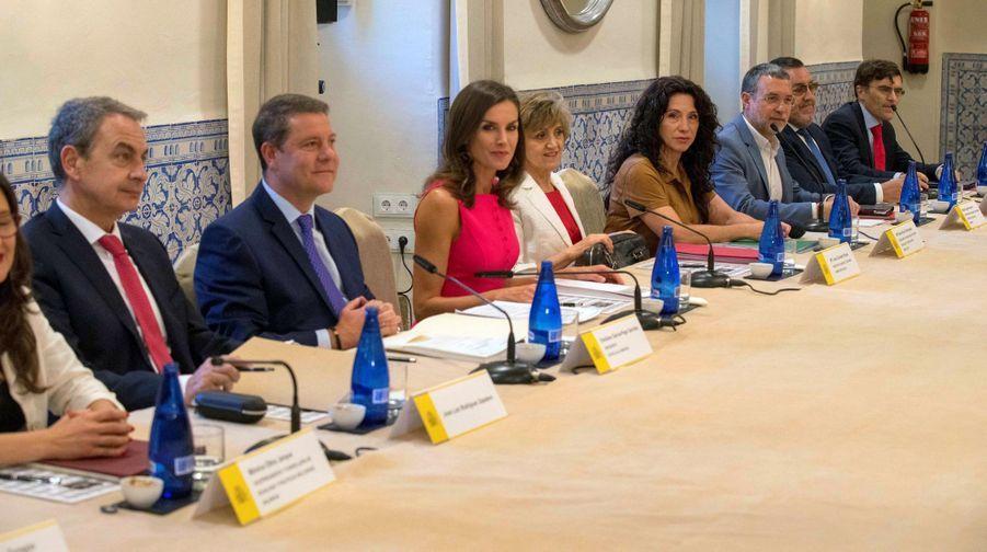 La reine Letizia d'Espagne en réunion à Almagro, le 9 juillet 2019