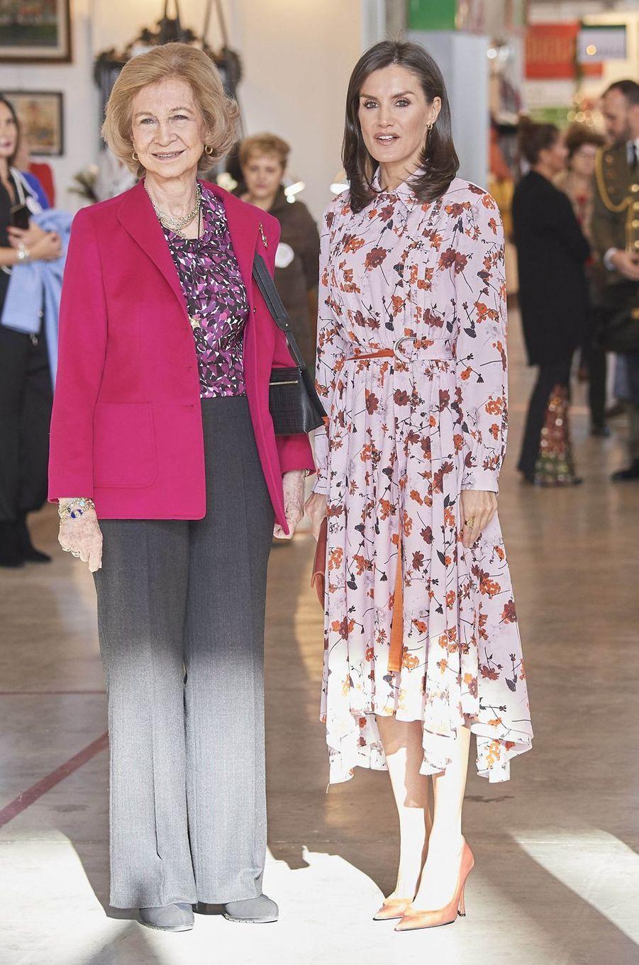 Lex-reine Sofia et sa belle-fille la reine Letizia d'Espagne à Madrid, le 19 novembre 2019