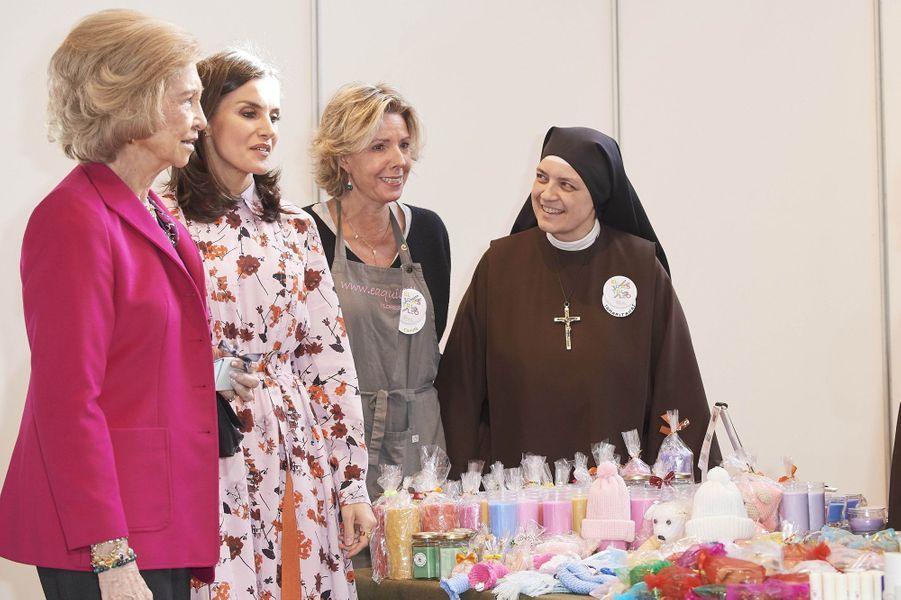 La reine Letizia d'Espagne et sa belle-mère l'ex-reine Sofia à Madrid, le 19 novembre 2019
