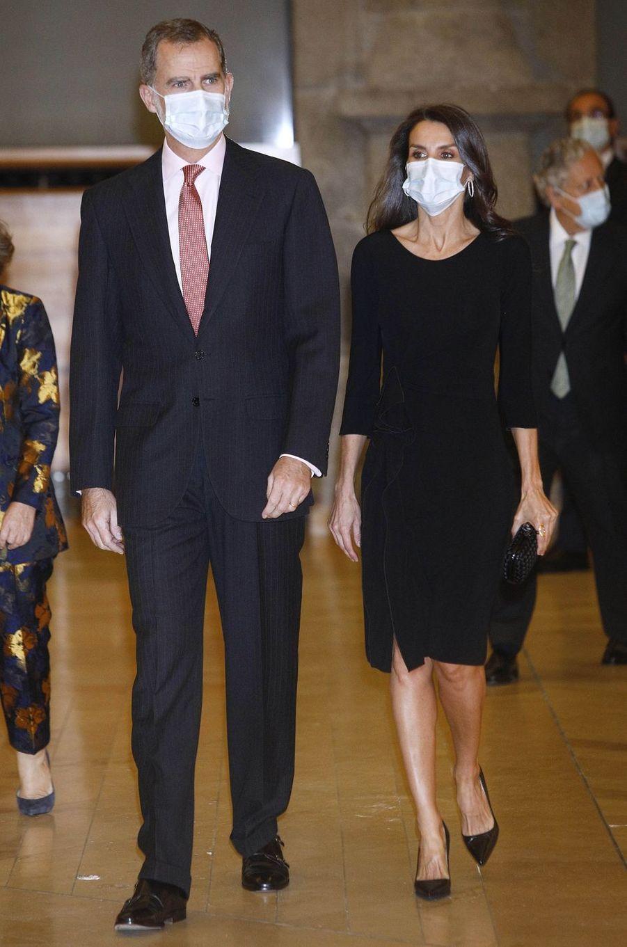 La reine Letizia et le roi Felipe VI d'Espagne à Madrid, le 18 novembre 2020